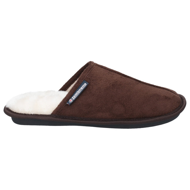 Dark Brown - Side - Lambretta Mens Mule Slipper