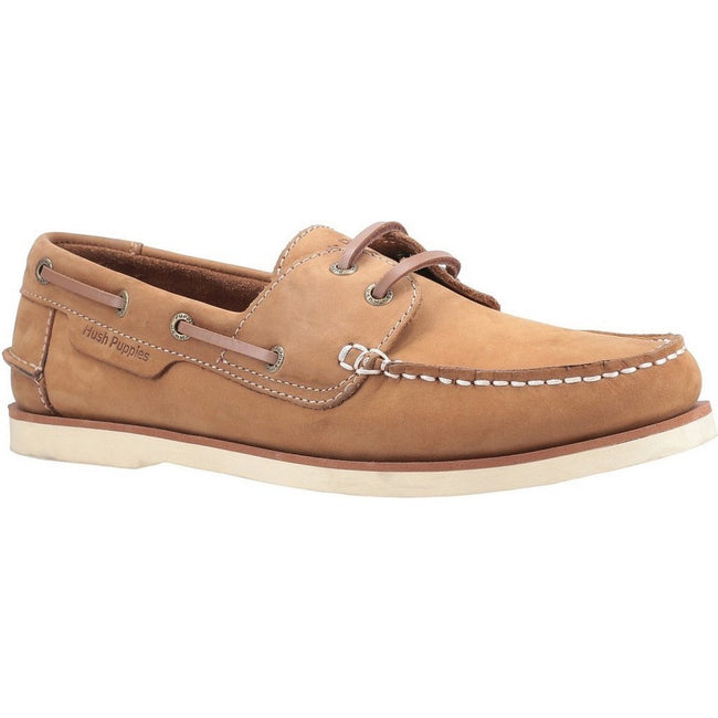 Chestnut - Front - Hush Puppies Mens Henry Lace Up Boat Shoes