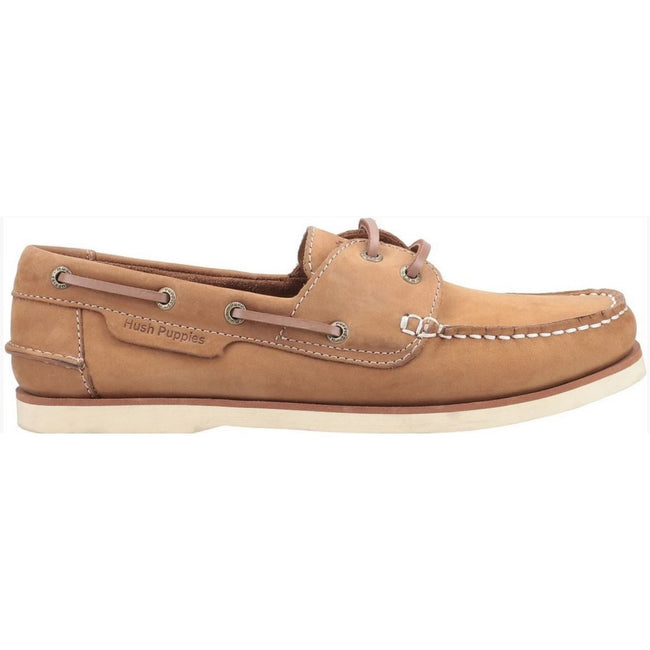 Chestnut - Back - Hush Puppies Mens Henry Lace Up Boat Shoes