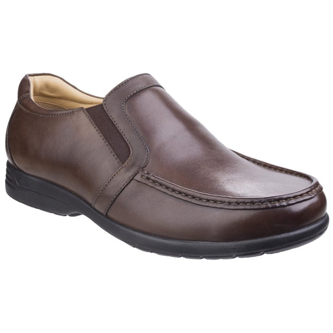 Brown - Front - Fleet & Foster Mens Dual Fit Moccasins