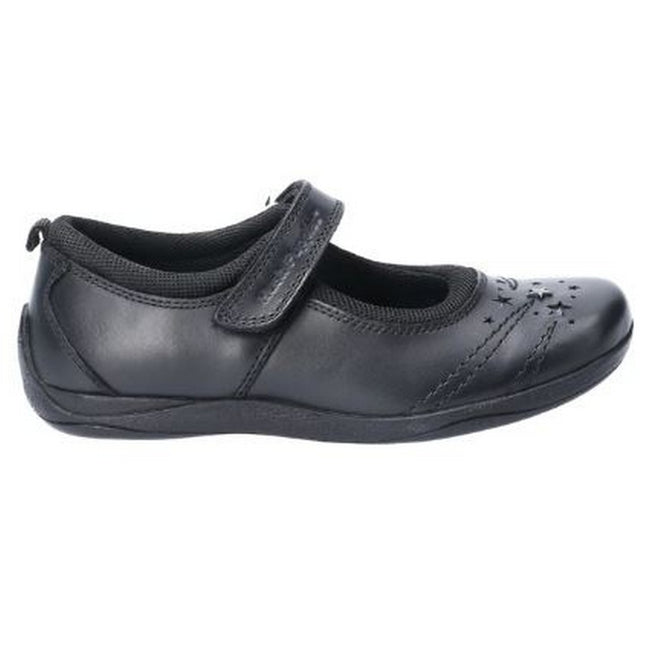 Black - Back - Hush Puppies Amber Girls Senior Touch Fastening Leather School Shoe