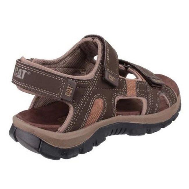 Dark Brown - Back - Cat Lifestyle Mens Giles Leather Sandal