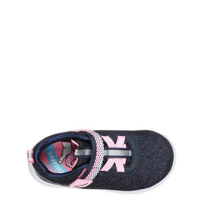 Navy Sparkle-Pink - Side - Skechers Comfy Flex 2.0-Lucky Sparkles Girls Touch Fastening Trainer
