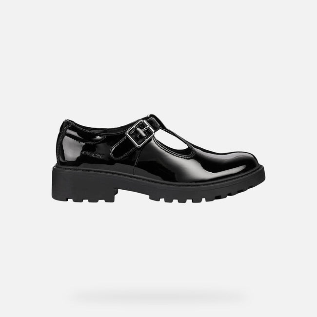 Black - Lifestyle - Geox Girls J Casey G E Leather Buckle Shoe