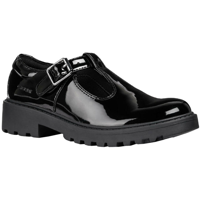 Black - Front - Geox Girls J Casey G E Leather Buckle Shoe