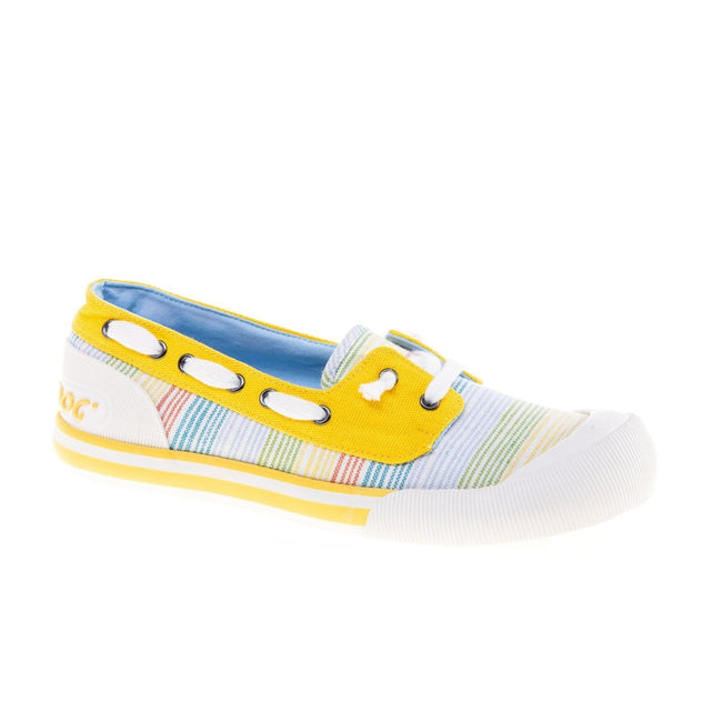 Yellow-Multicoloured - Front - Rocket Dog Womens-Ladies Jazzin Jetty Ravi Boat Shoe