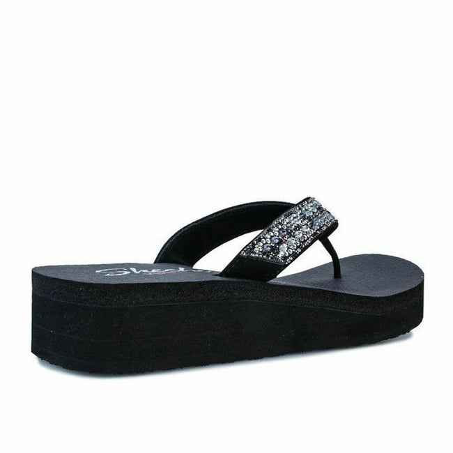 Black - Pack Shot - Skechers Womens-Ladies Vinyasa Glory Day Flip flop