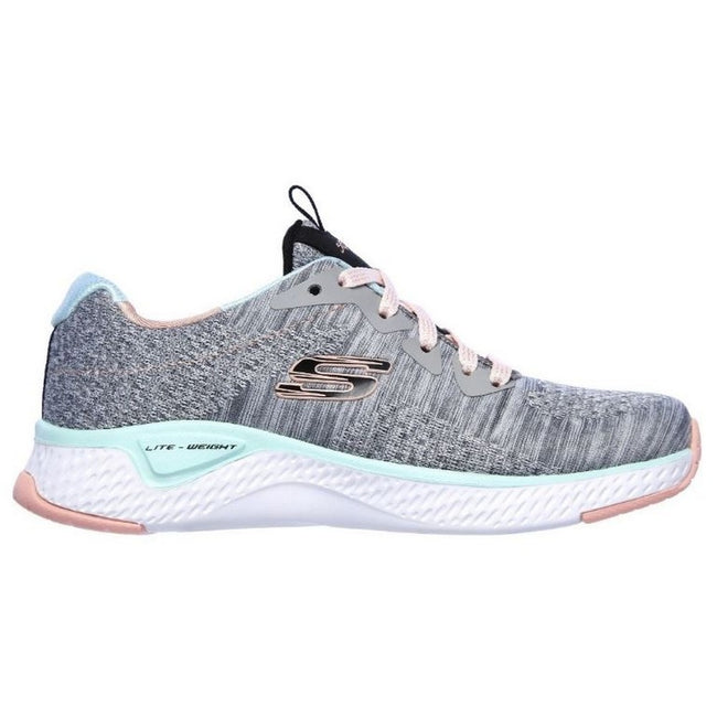 Gray-Mint - Back - Skechers Girls Solar Fuse Brisk Escape Lace Up Sneaker