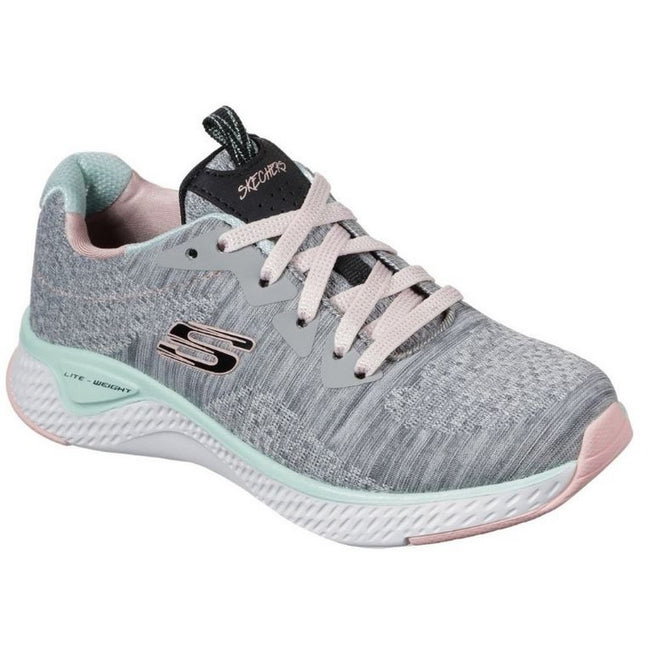 Gray-Mint - Front - Skechers Girls Solar Fuse Brisk Escape Lace Up Sneaker