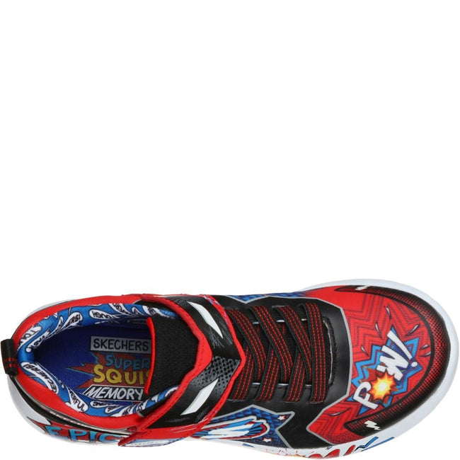 Red-Black-Blue - Lifestyle - Skechers Boys Dynamight Defender Squad Trainers