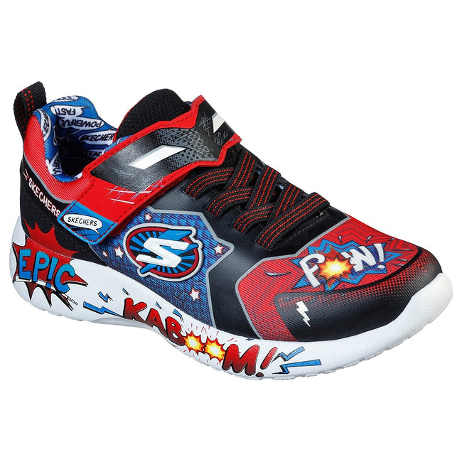 Red-Black-Blue - Front - Skechers Boys Dynamight Defender Squad Trainers