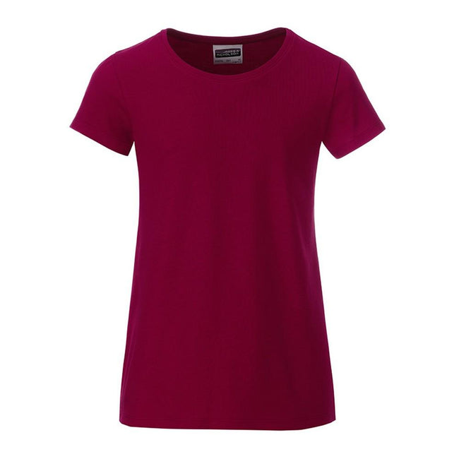 Wine Purple - Front - James and Nicholson Girls Basic T-Shirt