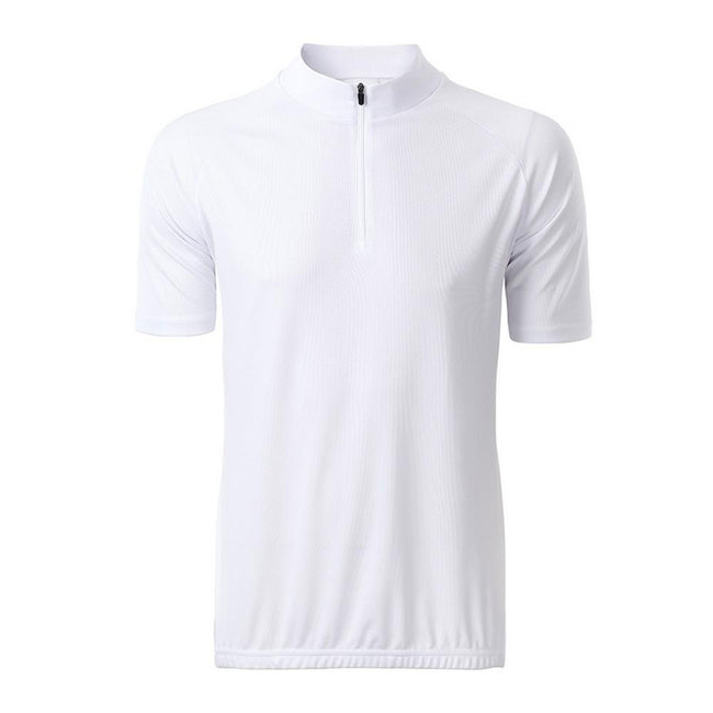 White - Front - James and Nicholson Mens Bike T-Shirt