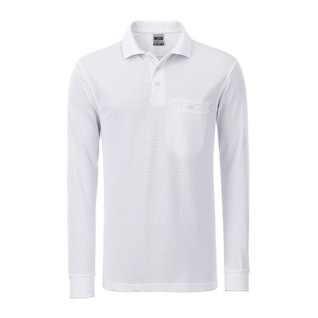 White - Front - James and Nicholson Mens Workwear Long Sleeve Pocket Polo