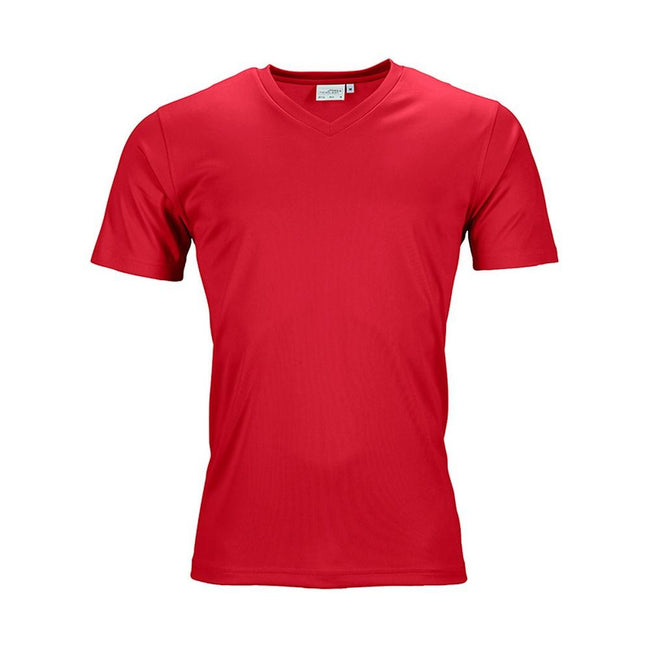 Red - Front - James and Nicholson Mens Active V Neck T-Shirt