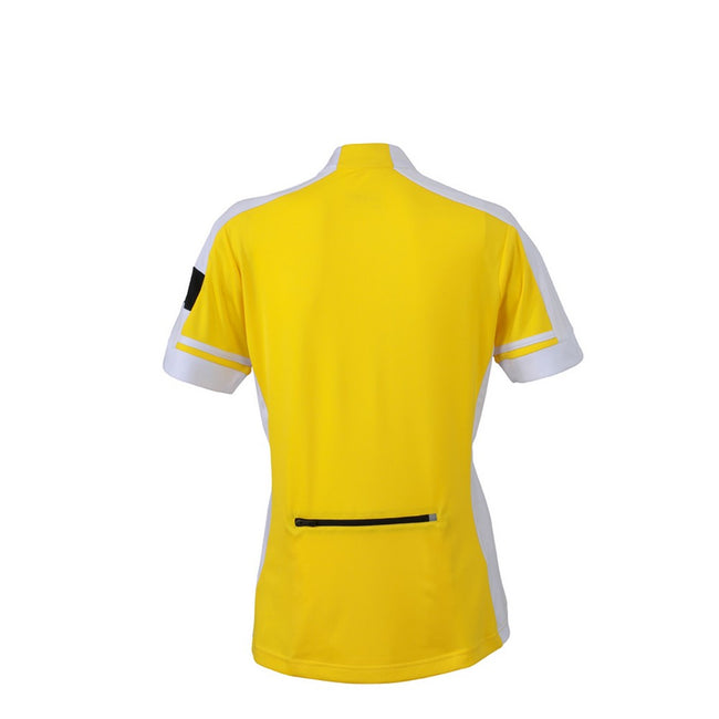 Sun Yellow - Back - James and Nicholson Womens-Ladies Half Zip Bike Tee