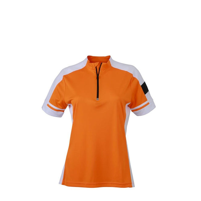 Orange - Front - James and Nicholson Womens-Ladies Half Zip Bike Tee