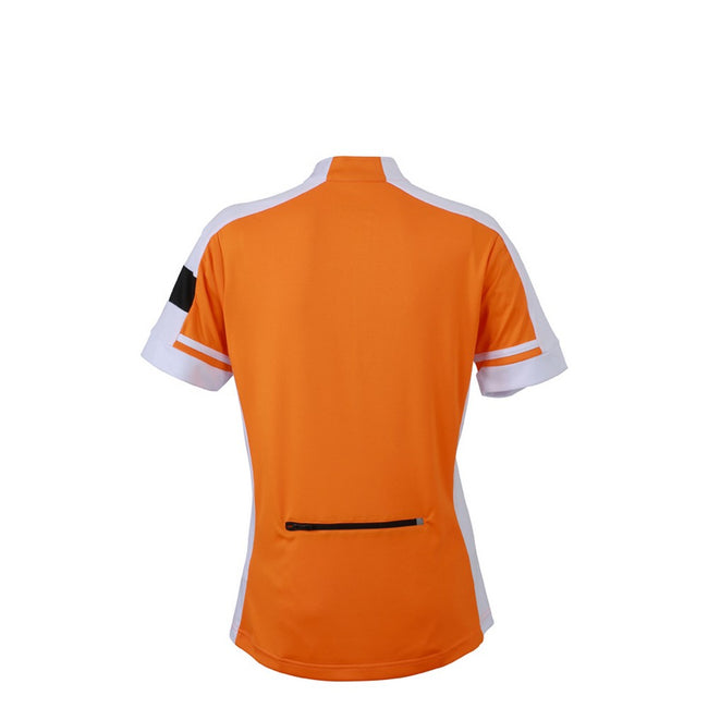 Orange - Back - James and Nicholson Womens-Ladies Half Zip Bike Tee