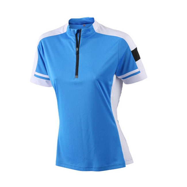 Cobalt Blue - Front - James and Nicholson Womens-Ladies Half Zip Bike Tee