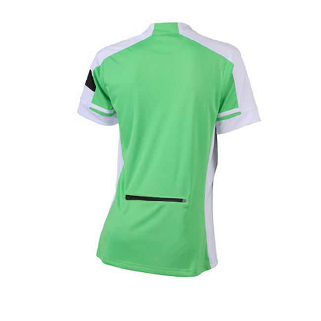 Green - Back - James and Nicholson Womens-Ladies Half Zip Bike Tee