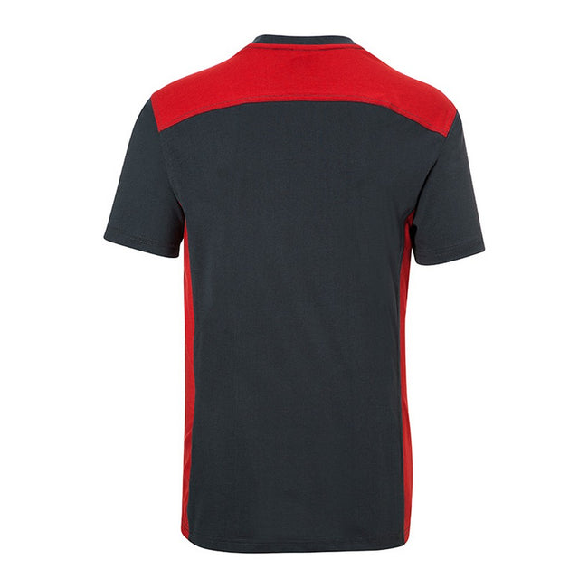 Carbon Gray-Red - Back - James and Nicholson Mens Workwear 2 Level T-Shirt