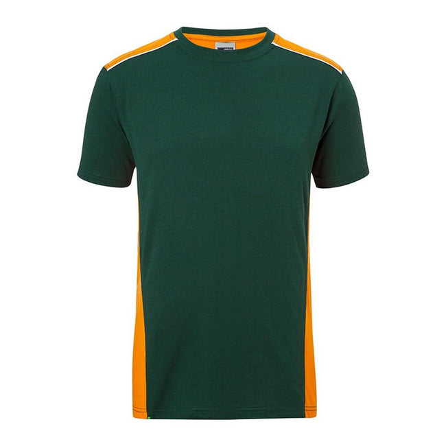 Dark Green-Orange - Front - James and Nicholson Mens Workwear 2 Level T-Shirt