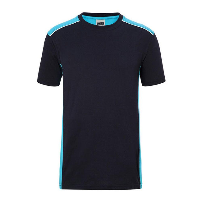 Navy-Turquoise - Front - James and Nicholson Mens Workwear 2 Level T-Shirt