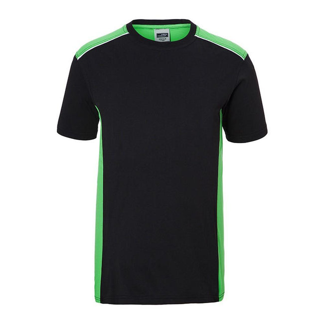 Black-Lime Green - Front - James and Nicholson Mens Workwear 2 Level T-Shirt