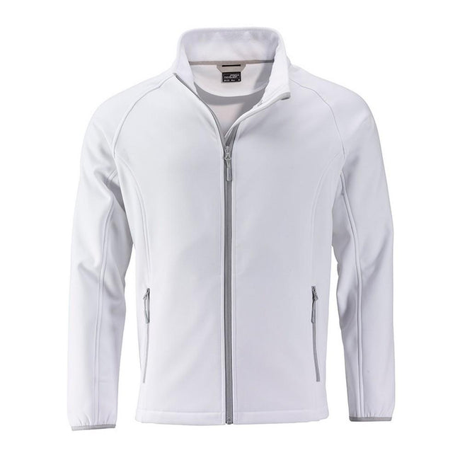 White-White - Front - James and Nicholson Mens Promo Softshell Jacket