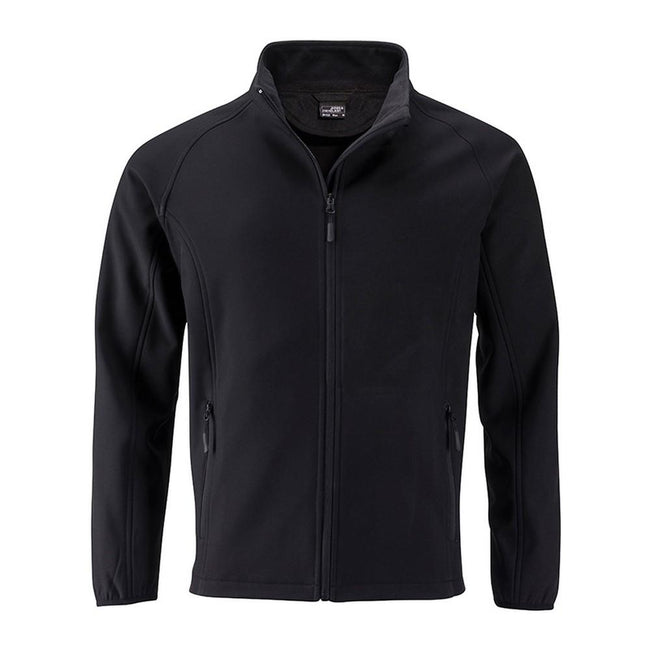 Black-Black - Front - James and Nicholson Mens Promo Softshell Jacket