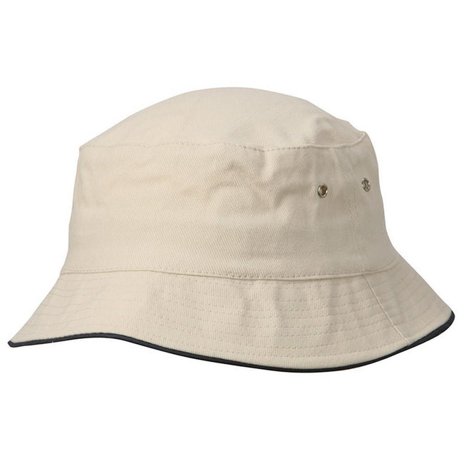 Natural-Navy - Front - Myrtle Beach Adults Unisex Fisherman Piping Hat