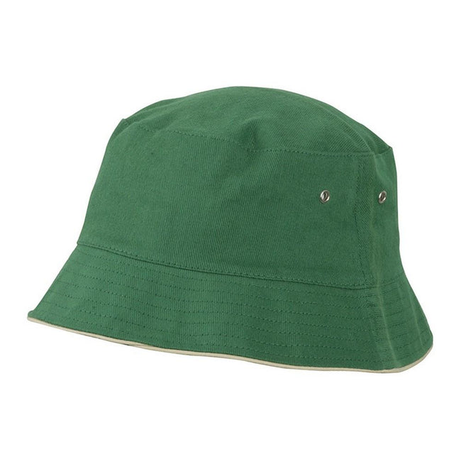 Dark Green-Beige - Front - Myrtle Beach Adults Unisex Fisherman Piping Hat