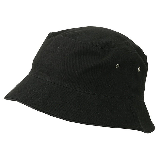 Black-Black - Front - Myrtle Beach Adults Unisex Fisherman Piping Hat