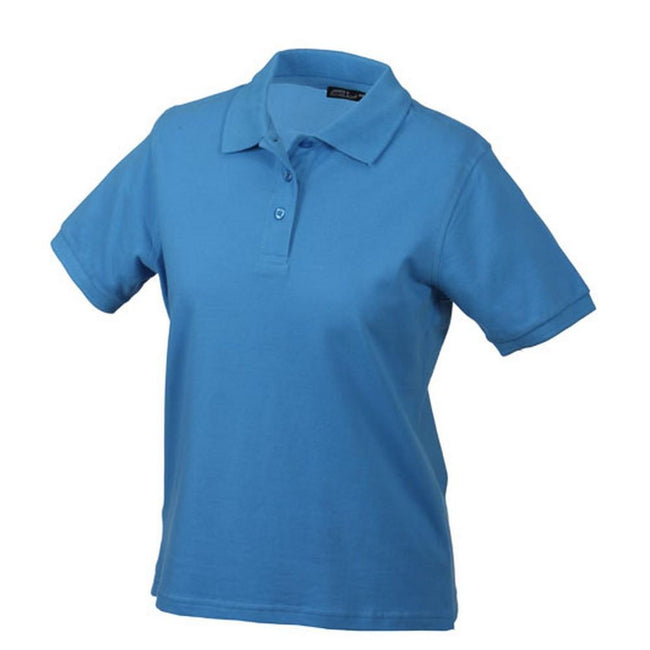 Aqua Blue - Front - Classic Polo Ladies