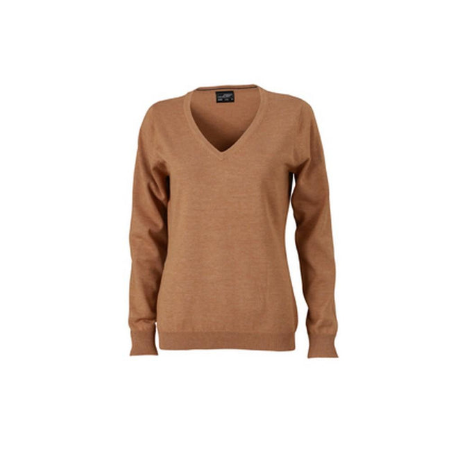 Camel Brown - Front - James and Nicholson Womens-Ladies V-Neck Pullover