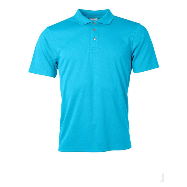 Turquoise - Front - James and Nicholson Mens Active Polo
