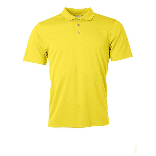 Yellow - Front - James and Nicholson Mens Active Polo