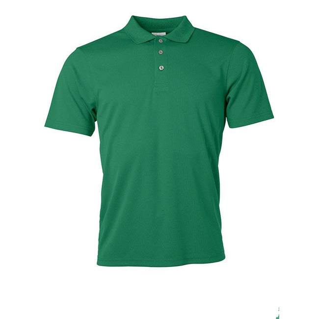 Green - Front - James and Nicholson Mens Active Polo