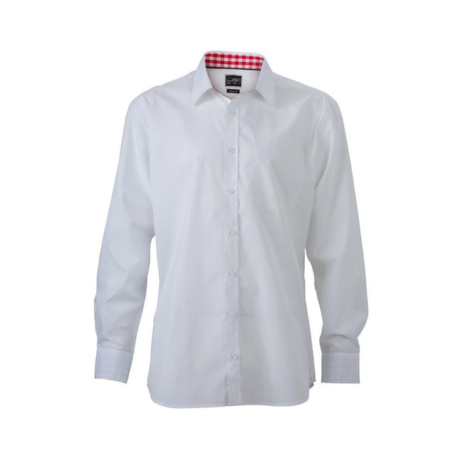 White-Red - Front - James and Nicholson Mens Plain Shirt