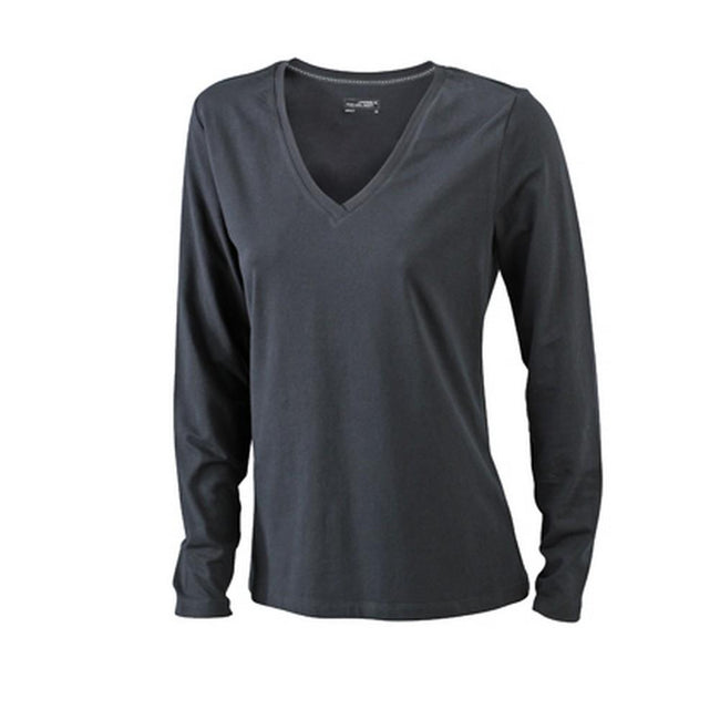 Black - Front - James and Nicholson Womens-Ladies Stretch V-Neck Long-Sleeved Shirt