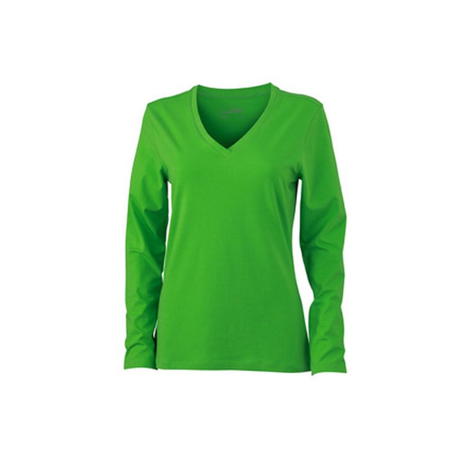 Lime Green - Front - James and Nicholson Womens-Ladies Stretch V-Neck Long-Sleeved Shirt