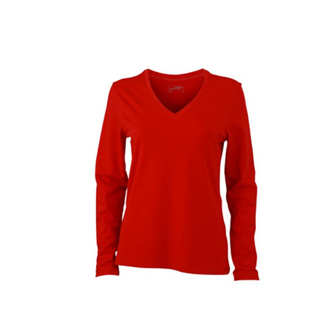 Red - Front - James and Nicholson Womens-Ladies Stretch V-Neck Long-Sleeved Shirt
