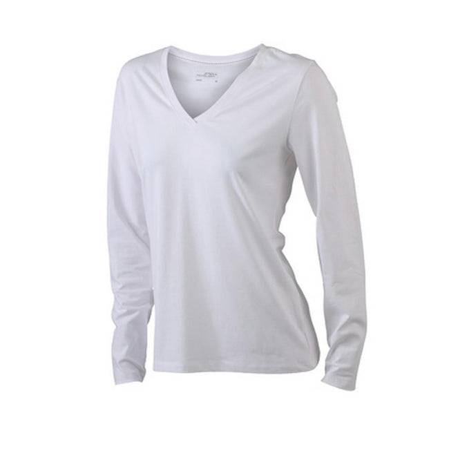 White - Front - James and Nicholson Womens-Ladies Stretch V-Neck Long-Sleeved Shirt