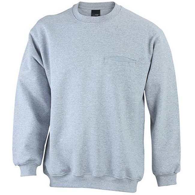 Gray Heather - Front - James and Nicholson Mens Round Pocket Sweatshirt