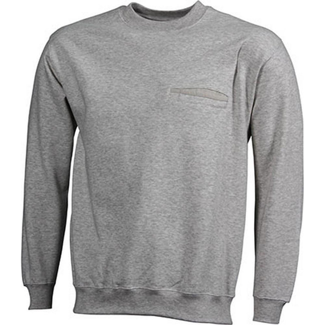 Ash Gray - Front - James and Nicholson Mens Round Pocket Sweatshirt