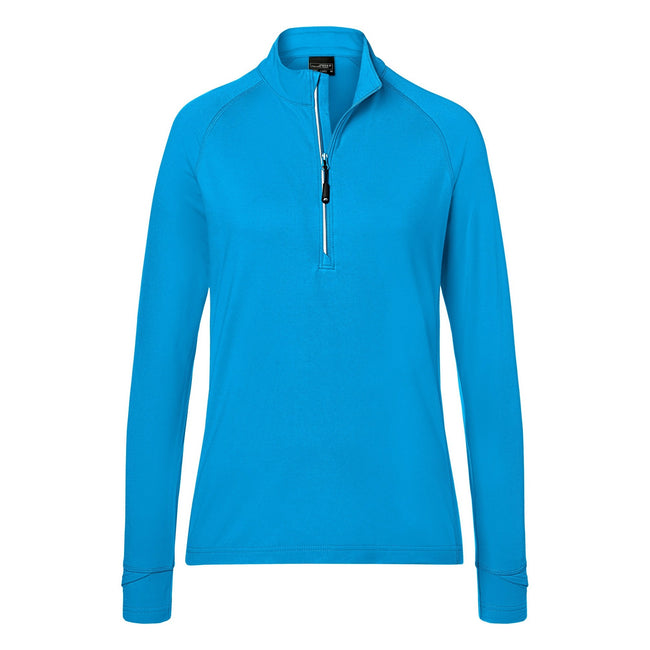Bright Blue - Front - James and Nicholson Womens-Ladies Half Zip Sports Top
