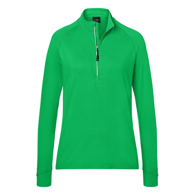 Fern Green - Front - James and Nicholson Womens-Ladies Half Zip Sports Top