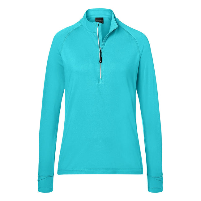 Turquoise - Front - James and Nicholson Womens-Ladies Half Zip Sports Top