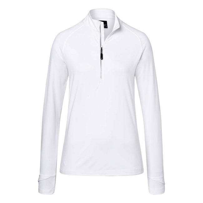 White - Front - James and Nicholson Womens-Ladies Half Zip Sports Top