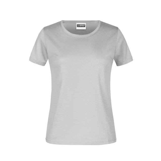 Ash - Front - James And Nicholson Womens-Ladies Round Neck Basic T-Shirt